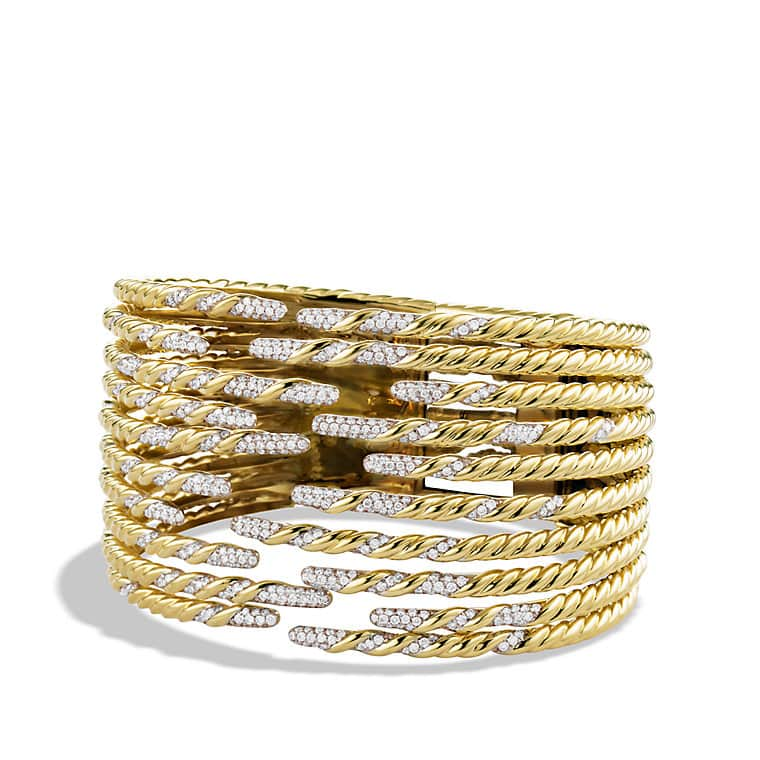 Willow Ten-Row Bracelet with Diamonds in Gold