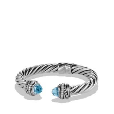 Cable Classic Crossover Bracelet with Blue Topaz and Diamonds, 8.5mm