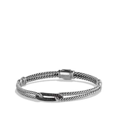 Petite Pavé Mini Loop Bracelet with Black Diamonds