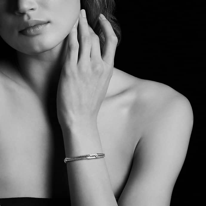 Petite Pavé Mini Loop Bracelet with Diamonds