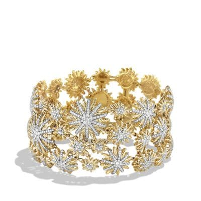 Starburst Mosaic Bracelet with Diamonds in 18K Gold