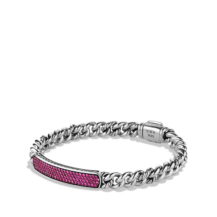 Petite Pavé ID Bracelet with Pink Sapphires