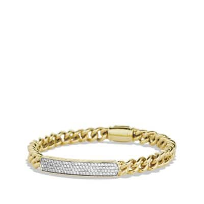Petite Pavé ID Bracelet with Diamonds in 18K Gold