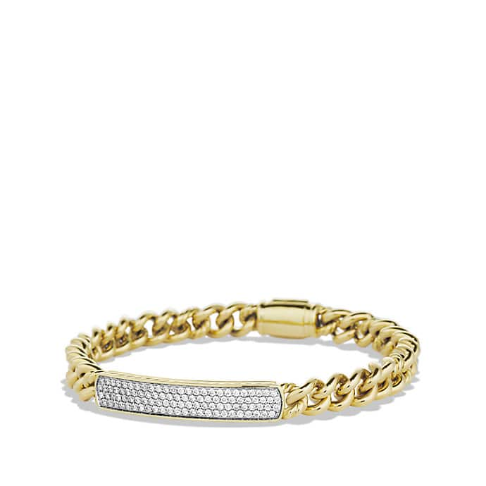 Petite Pavé ID Bracelet with Diamonds in Gold
