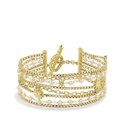 Starburst Chain Bracelet with Pearls in 18K Gold