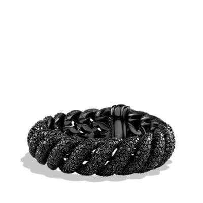 Hampton Cable Bracelet with Black Diamonds, 19mm