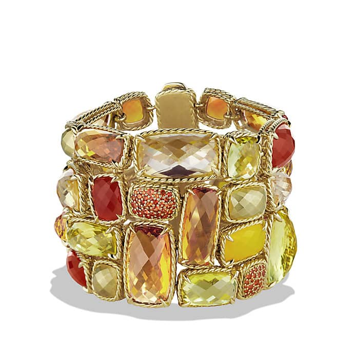 Chatelaine Five-Row Bracelet with Lemon Citrine, Champagne Citrine, and Orange Sapphire in Gold