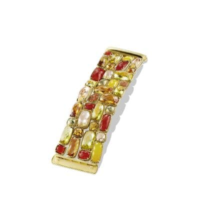 Châtelaine Five-Row Bracelet with Lemon Citrine, Champagne Citrine, and Orange Sapphire in 18K Gold