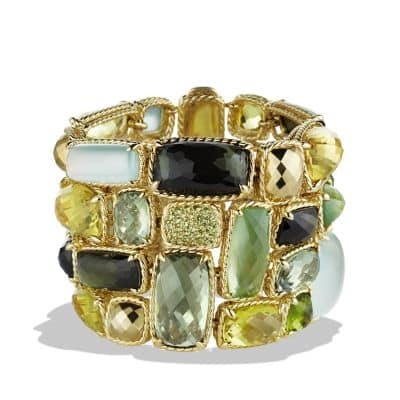 Châtelaine Five-Row Bracelet with Lemon Citrine, Green Tourmaline, and Demantoid Garnets in 18K Gold