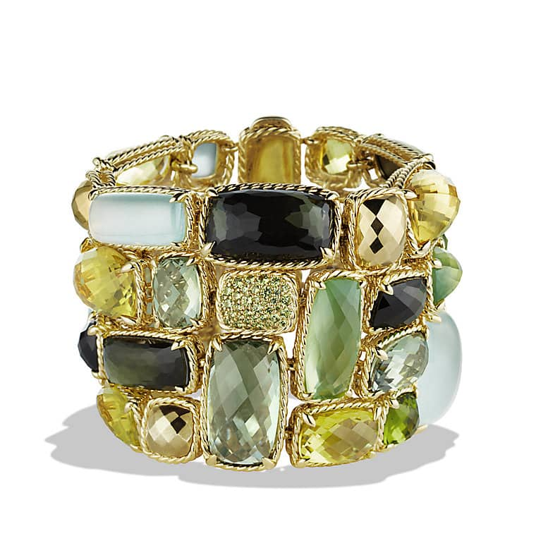 Chatelaine Five-Row Bracelet with Lemon Citrine, Green Tourmaline, and Demantoid Garnets in Gold