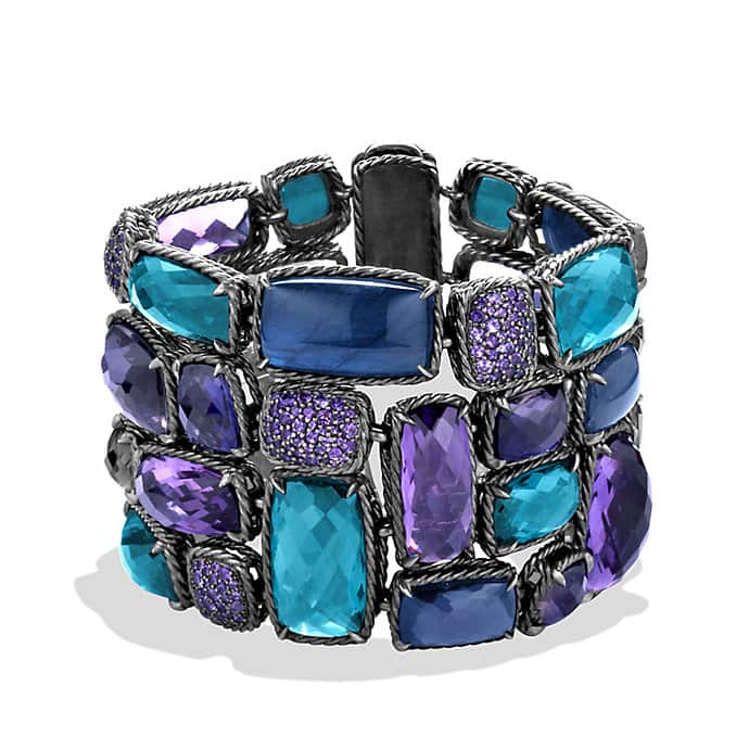 Chatelaine Five-Row Bracelet with Amethyst and Hampton Blue Topaz