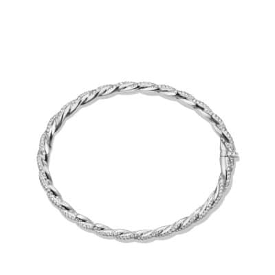 Wisteria Pavé Twist Bracelet with Diamonds in 18K White Gold, 5mm