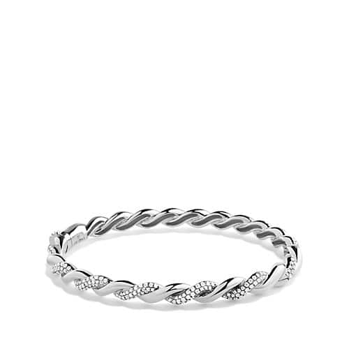 Wisteria Bracelet with Diamonds in 18K White Gold, 5mm