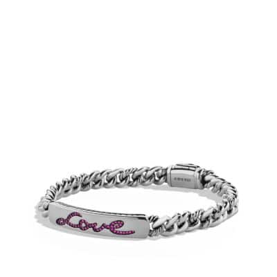 Petite Pavé Curb Link Love ID Bracelet with Pink Sapphires