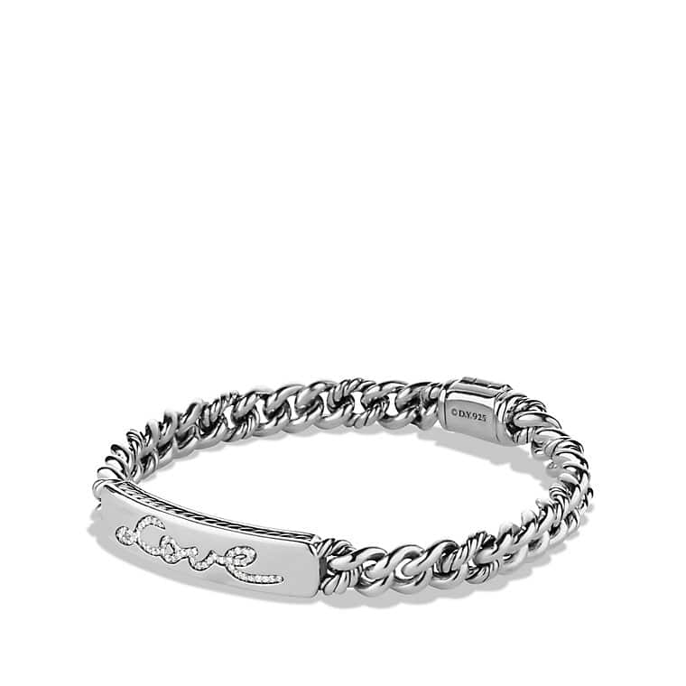 Petite Pavé Curb Link Love ID Bracelet with Diamonds