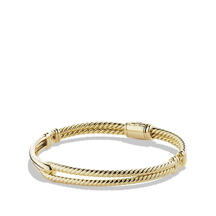 Petite Pavé Labyrinth Single-Loop Bracelet in 18K Gold, 7mm