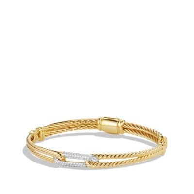 Petite Pavé Mini Loop Bracelet with Diamonds in 18K Gold, 7mm