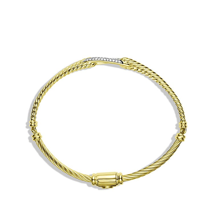 Petite Pavé Mini Loop Bracelet with Diamonds in Gold