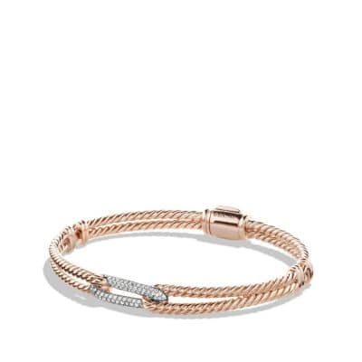 Petite Pavé Mini Loop Bracelet with Diamonds in 18K Rose Gold, 7mm