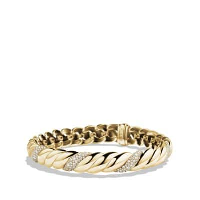 Hampton Cable Bracelet with Diamonds in 18K Gold, 8.5mm