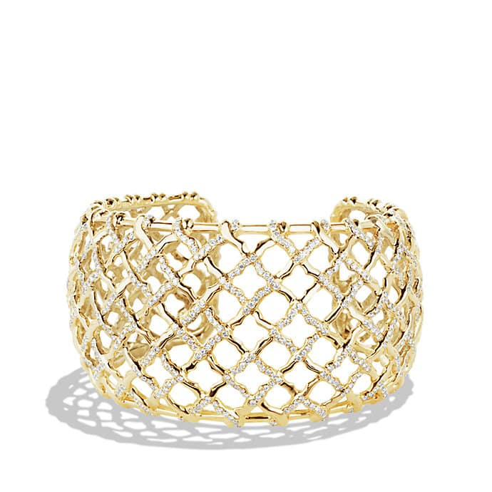 Venetian Quatrefoil Wide Cuff Bracelet with Diamonds in Gold