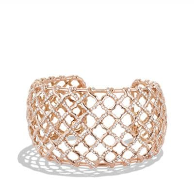 Venetian Quatrefoil Wide Cuff Bracelet with Diamonds in 18K Rose Gold, 41mm