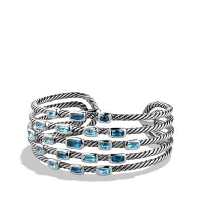 Confetti Wide Cuff Bracelet with Blue Topaz and Hampton Blue Topaz, 23mm