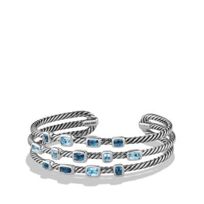 Confetti Narrow Cuff Bracelet with Blue Topaz and Hampton Blue Topaz, 16mm