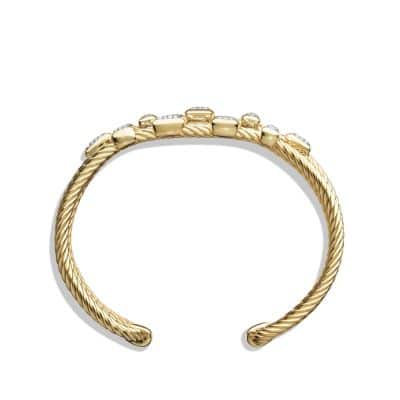 Confetti Narrow Cuff Bracelet with Diamonds in 18K Gold, 16mm
