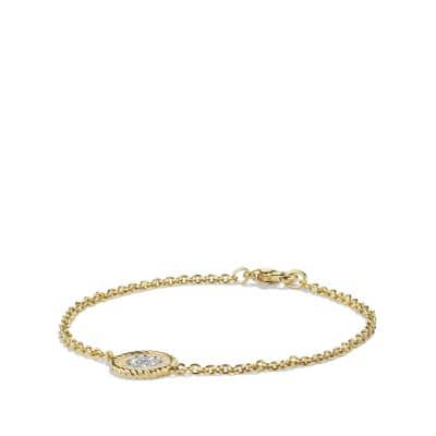 Pavé Cable Four Leaf Clover Charm Bracelet with Diamonds in Gold