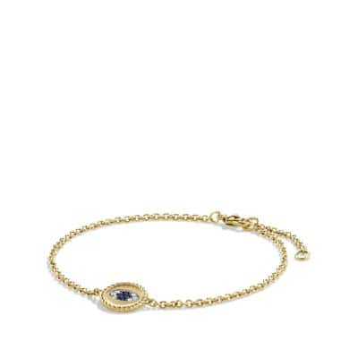 Cable Collectibles Evil Eye Charm with Blue Sapphire, Diamonds and Black Diamonds in 18K Gold