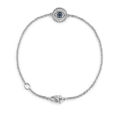 Cable Collectibles Evil Eye Bracelet with Diamonds and Light Blue Sapphires in 18K White Gold