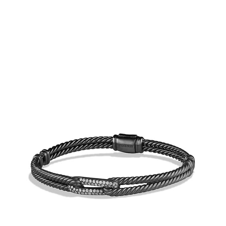 Petite Pavé Mini Loop Bracelet with Gray Diamonds