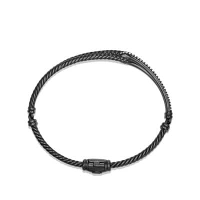 Petite Pavé Labyrinth Single-Loop Bracelet with Gray Diamonds, 7mm