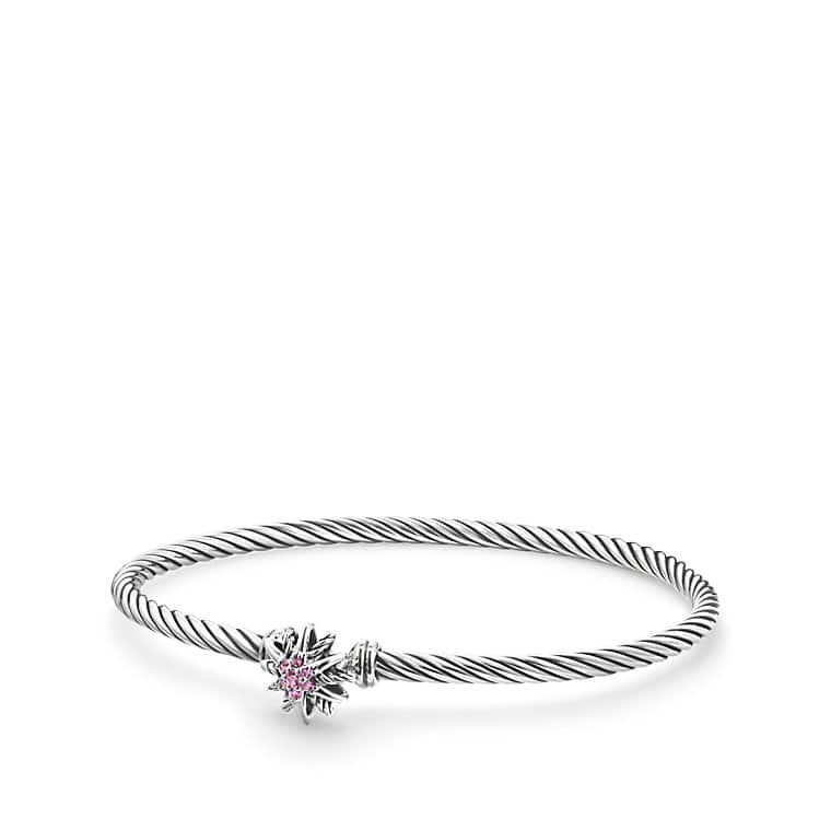 Starburst Single-Station Cable Bracelet with Pink Sapphires, 3mm