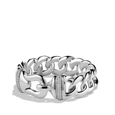 Buckle Single-Row Bracelet with Diamonds, 19mm