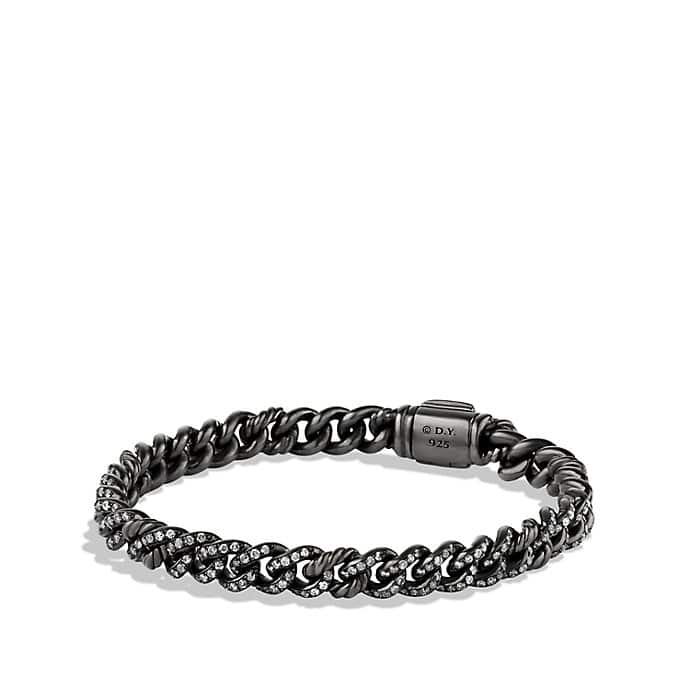 Petite Pavé Curb Link Bracelet with Gray Diamonds