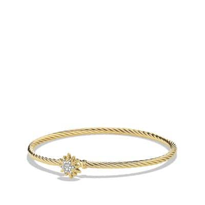 Starburst Bracelet with Diamonds in 18K Gold, 3mm
