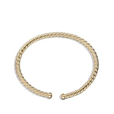 Cable Spira Bracelet in 18K Gold, 4mm