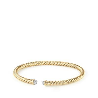 Cable Spira Bracelet with Diamonds in 18K Gold, 4mm