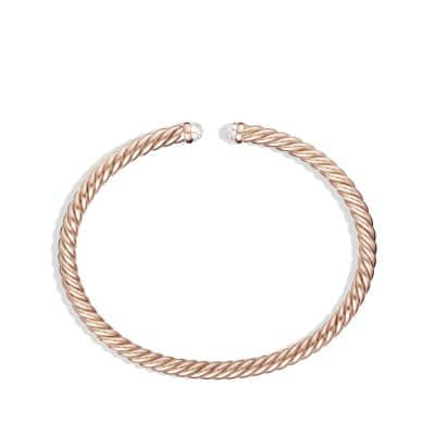 Cable Spira Bracelet with Diamonds in 18K Rose Gold, 4mm