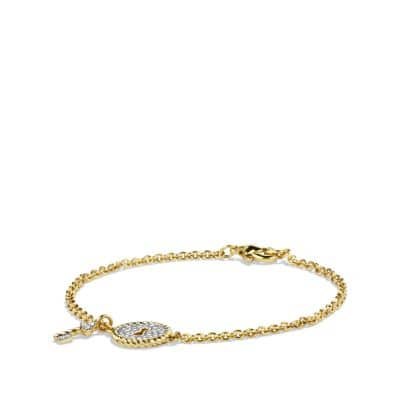 Cable Collectibles Pavé Lock & Key Charm Bracelet with Diamonds in 18K Gold