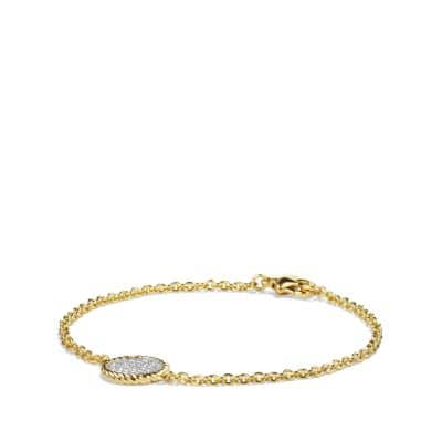 Cable Pavé Charm Bracelet with Diamonds in Gold