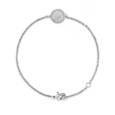 Cable Collectibles Pavé Plate Charm Bracelet with Diamonds in 18K White Gold