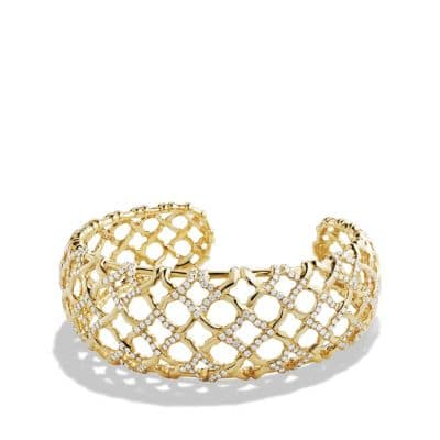 Venetian Quatrefoil Narrow Cuff Bracelet with Diamonds in 18K Gold, 24mm