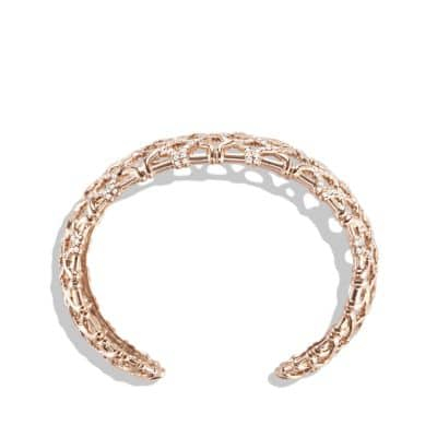 Venetian Quatrefoil Narrow Cuff Bracelet with Diamonds in 18K Rose Gold, 24mm