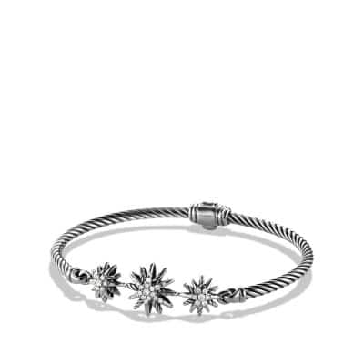Starburst Three-Station Cable Bracelet with Diamonds