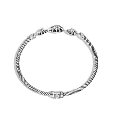 Starburst Three-Station Cable Bracelet with Diamonds, 3mm