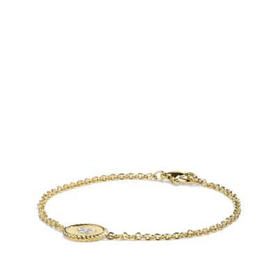 Cable Pavé Heart Charm Bracelet with Diamonds in Gold