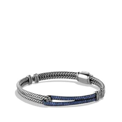 Petite Pavé Labyrinth Single-Loop Bracelet with Blue Sapphires